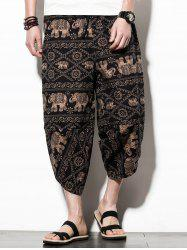 Casual Elephant Print Nine Minutes of Jogger Pants -