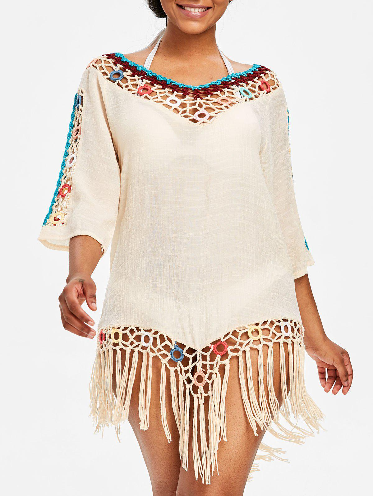 Chic Fringed Beach Crochet Panel Cover Up Dress