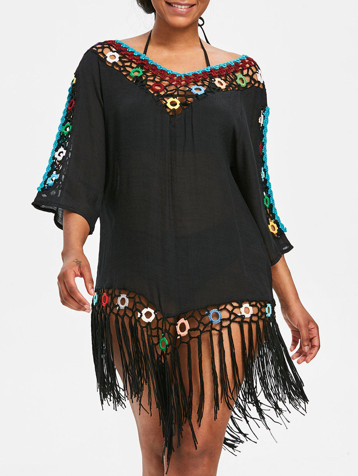 Shop Fringed Beach Crochet Panel Cover Up Dress