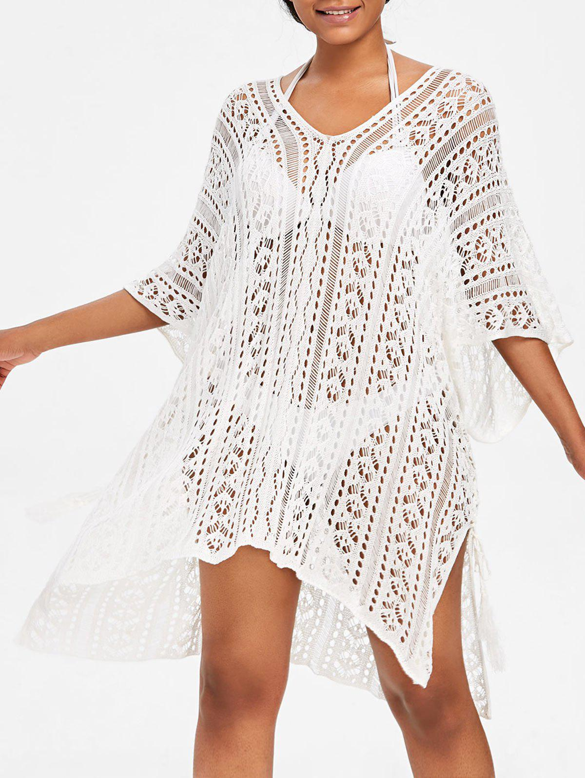 Online Asymmetric Knit Beach Cover Up