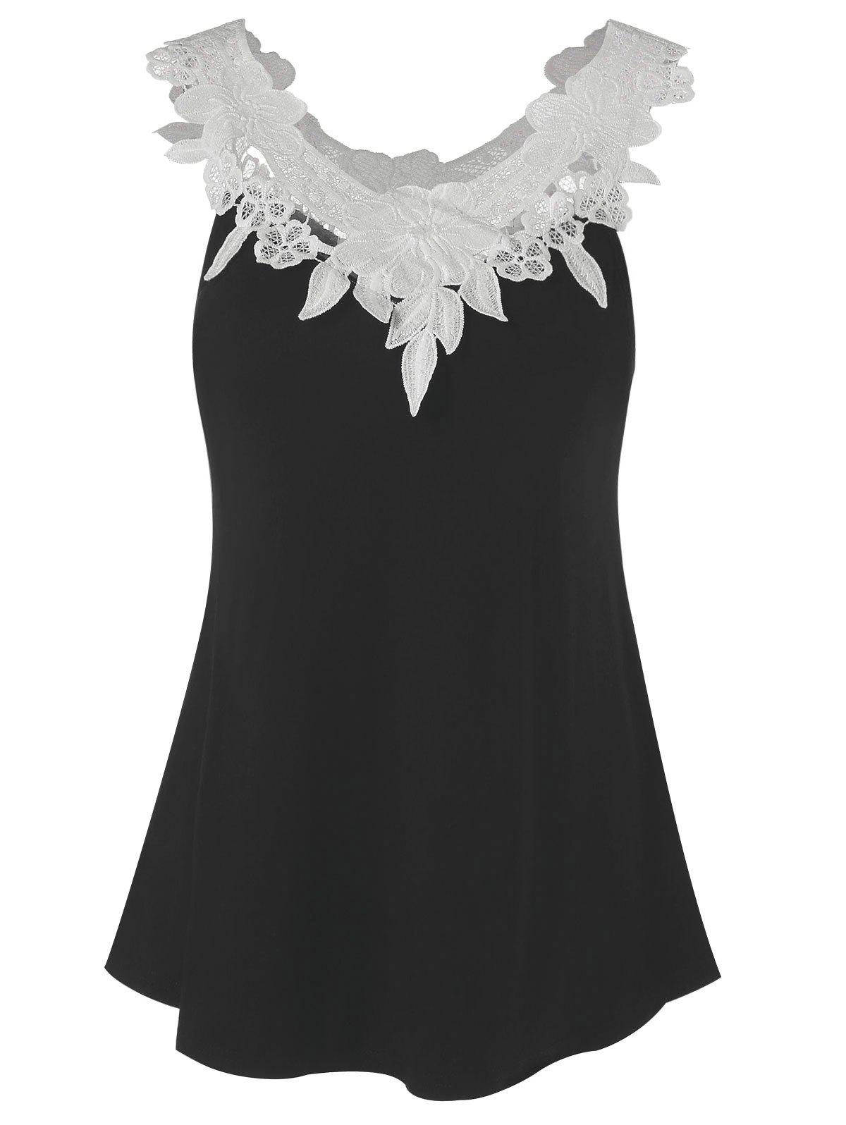 Fashion Lace Panel Tank Top