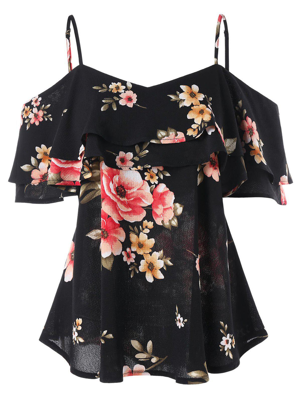 Latest Spaghetti Strap Cold Shoulder Floral Blouse