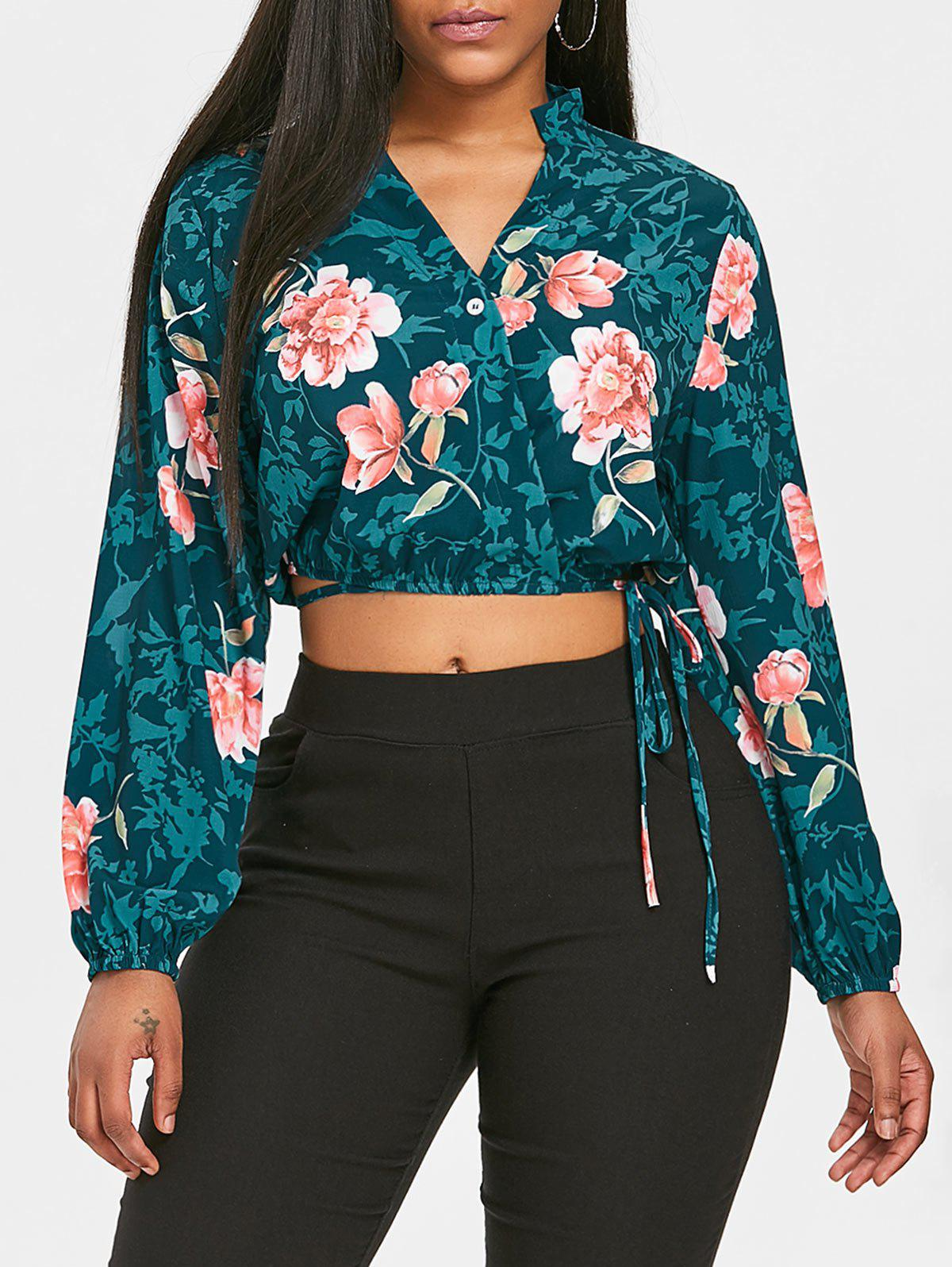 Buy Floral Crop Wrap Blouse