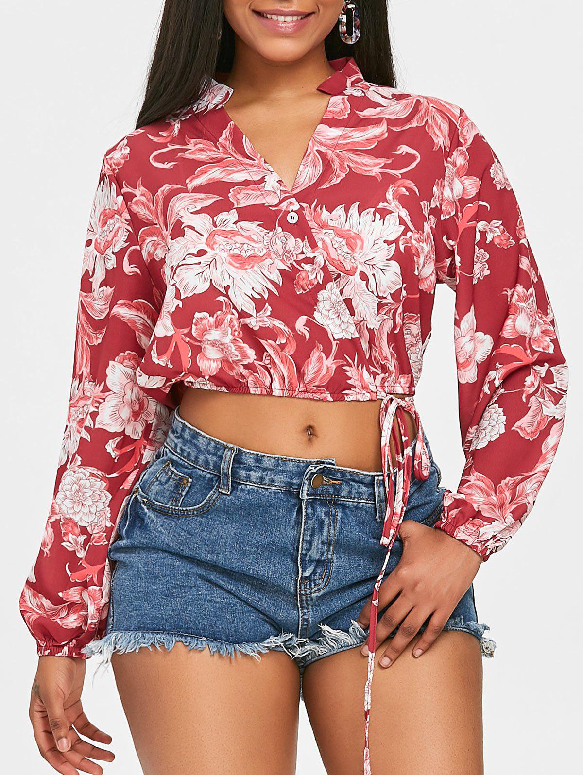 Sale Floral Crop Wrap Blouse