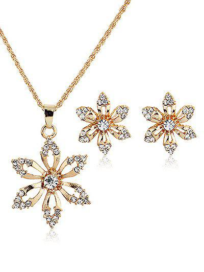 Cheap Rhinestoned Metal Flower Necklace and Earrings