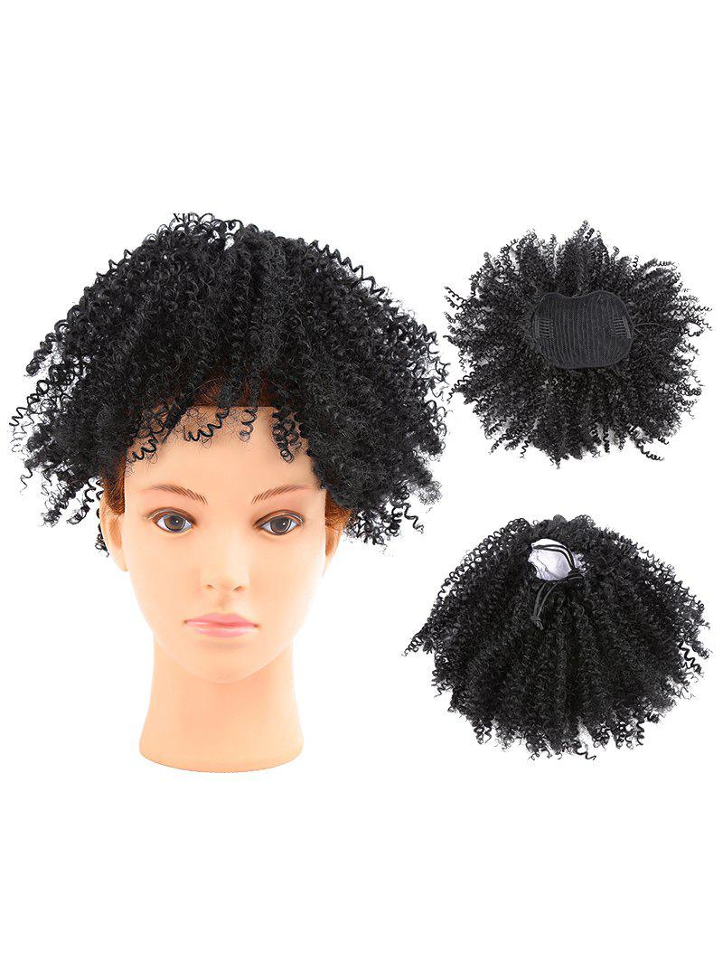 Black Short Fluffy Afro Kinky Curly Ponytail Hair Extension