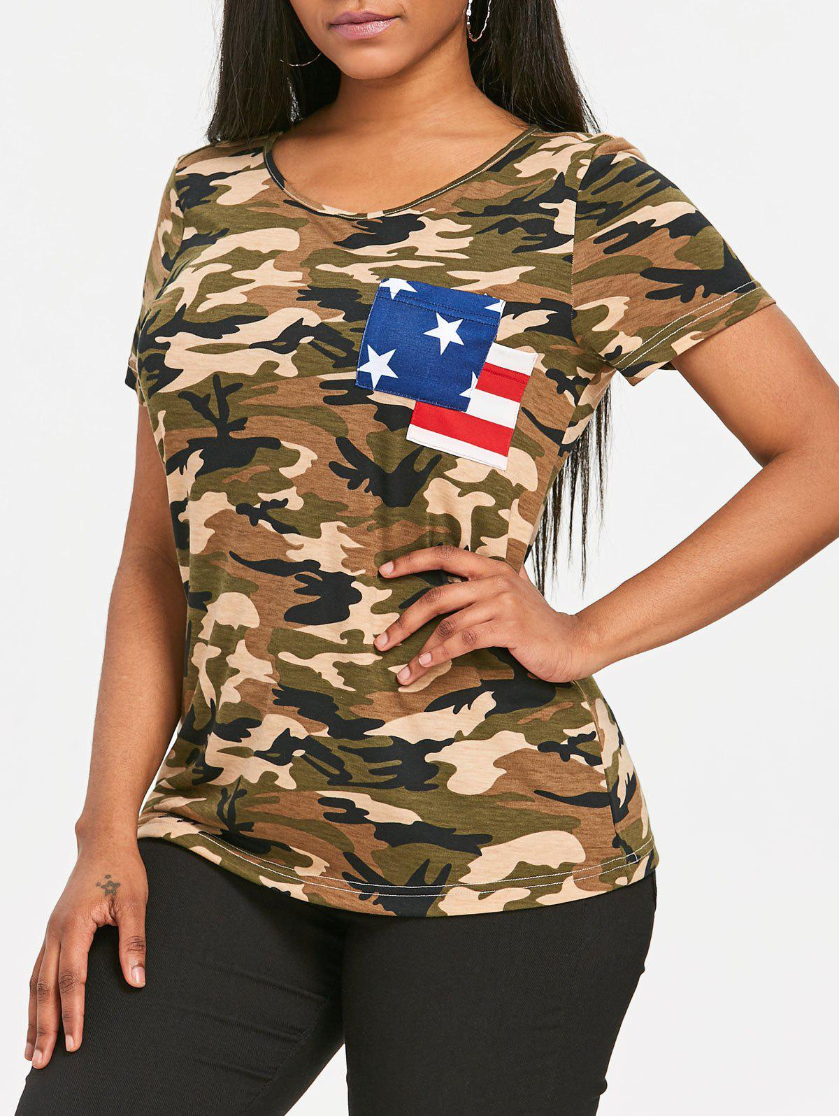 Discount Patriotic Camo American Flag Pocket T-shirt