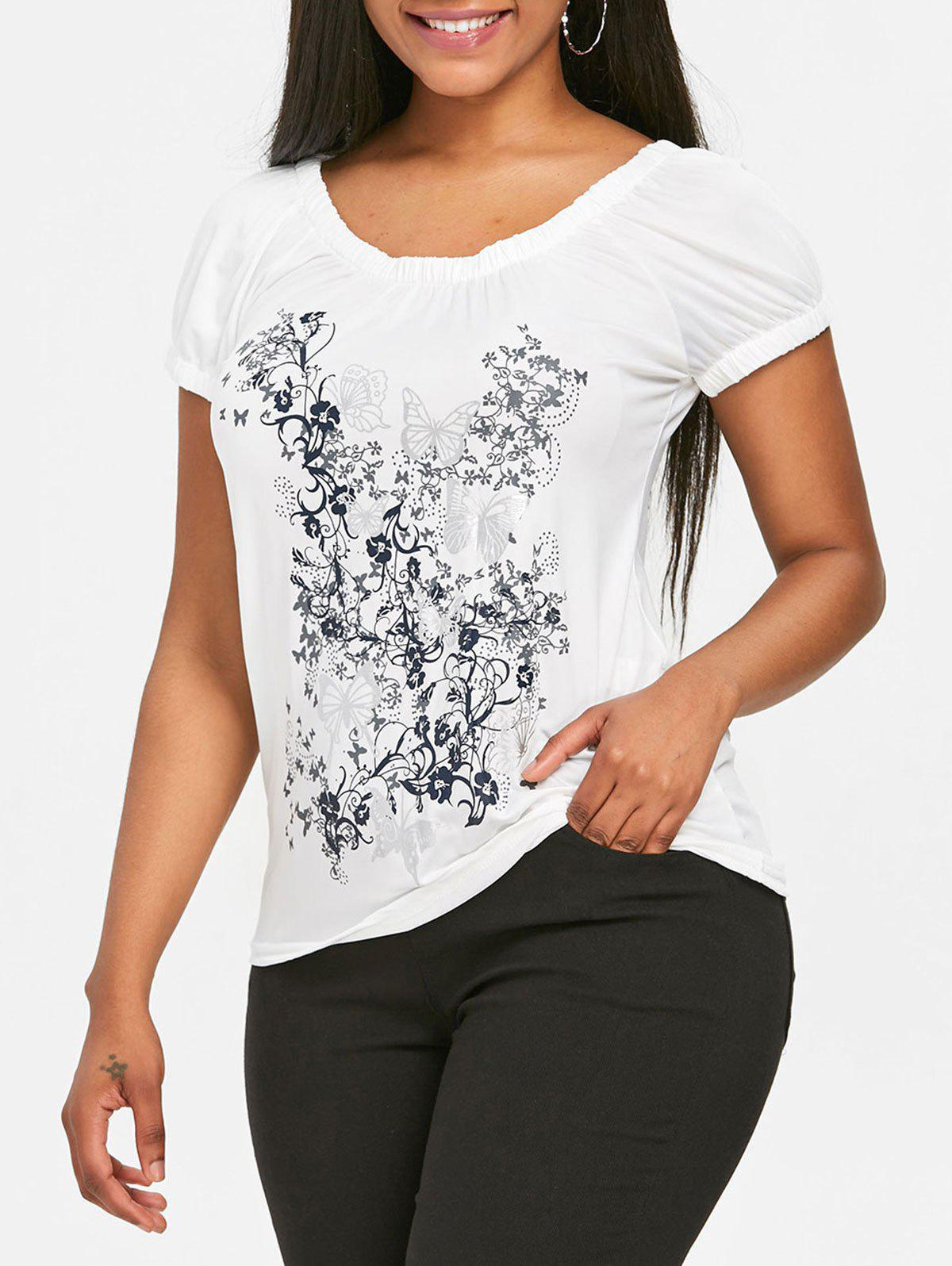Trendy Butterfly and Floral Print Scoop Neck T-shirt