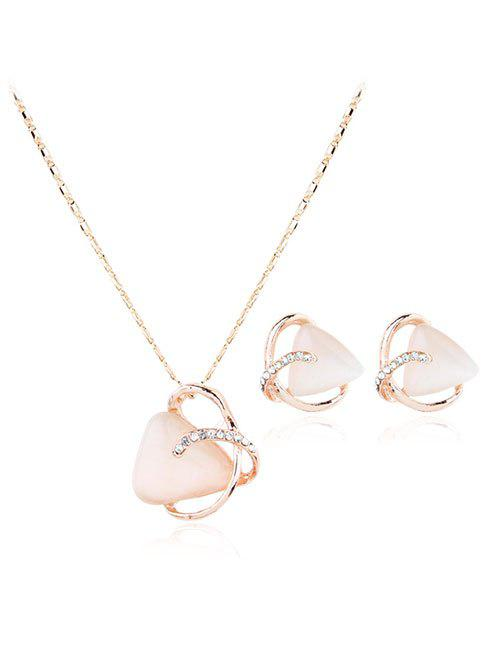 Buy Faux Opal Rhinestone Geometric Necklace with Earrings