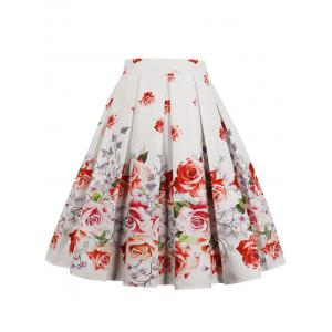 High Waist Printed Midi Pleated Skirt -