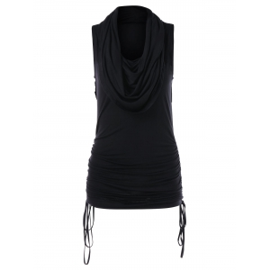 Heaps Collar Ruched Drawstring Tank Top -