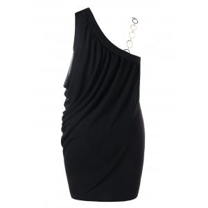 Plus Size One Shoulder Draped Bodycon Dress -