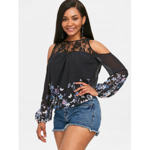 Floral Long Sleeve Cutout Shoulder Blouse -