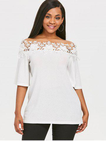 Lace Insert Slash Neck Blouse