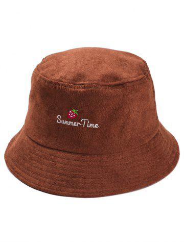 Sale Summer Time Strawberry Embroidery Fisherman Hat