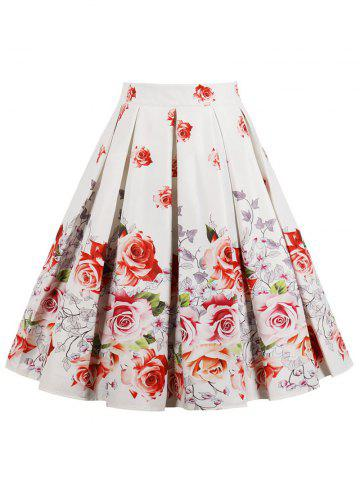 Outfit High Waist Printed Midi Pleated Skirt