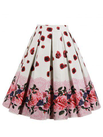 Shops Retro High Waisted Floral Midi Skirt