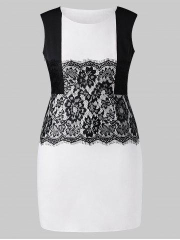 Plus Size Work Dress with Lace Panel