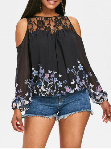Chic Floral Long Sleeve Cutout Shoulder Blouse