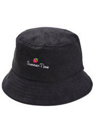 Summer Time Strawberry Embroidery Fisherman Hat -