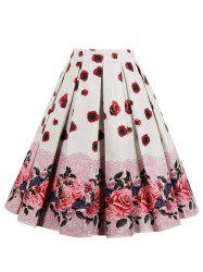 Retro High Waisted Floral Midi Skirt -
