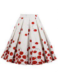 High Waisted Cherry Print Midi Skirt -