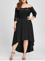 Plus Size Off Shoulder Lace High Low Dress -