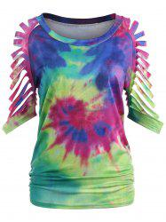 Ripped Sleeve Tie Dyed Print T-shirt -