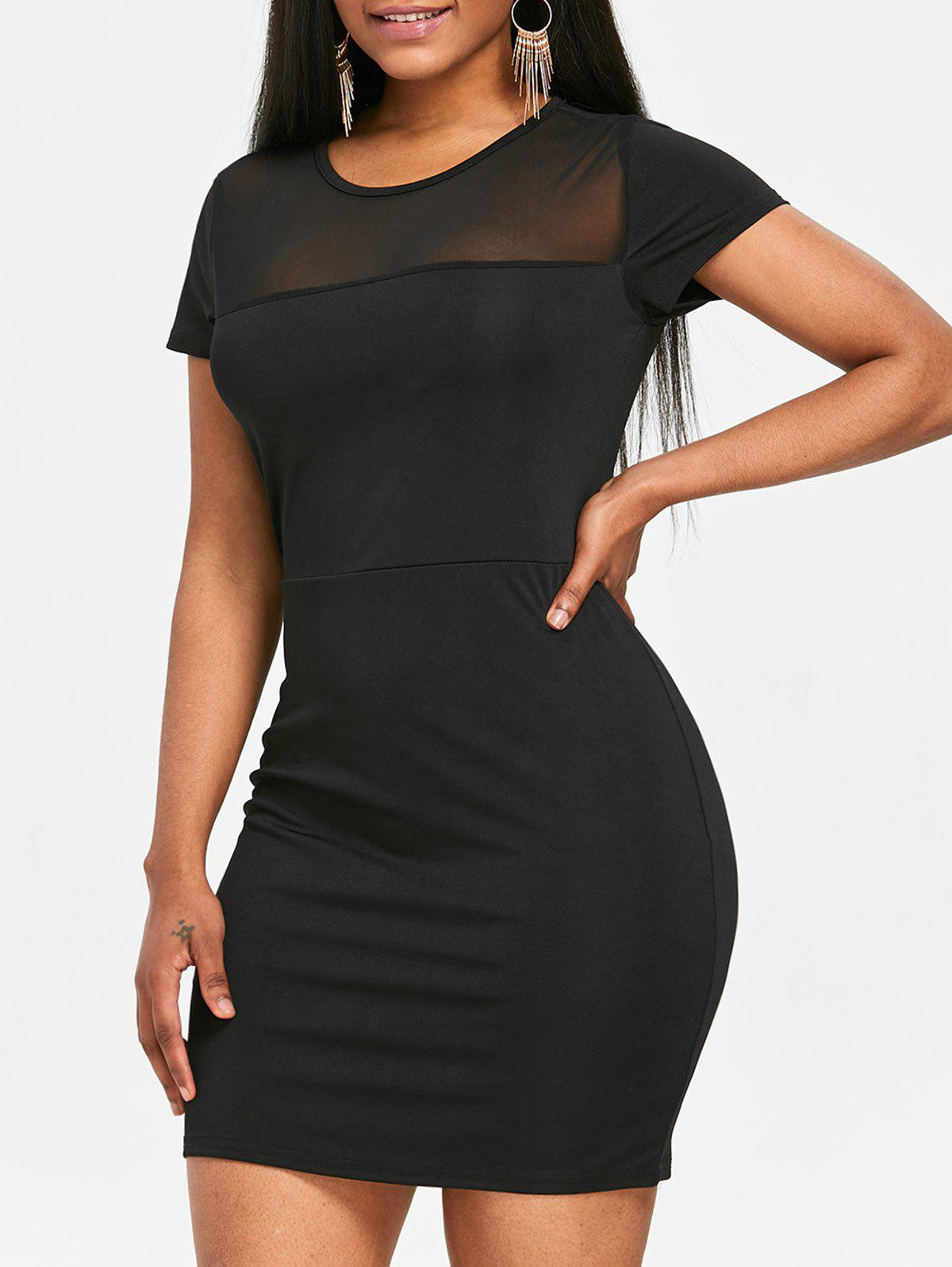 Affordable See Through Mesh Panel Bodycon Dress