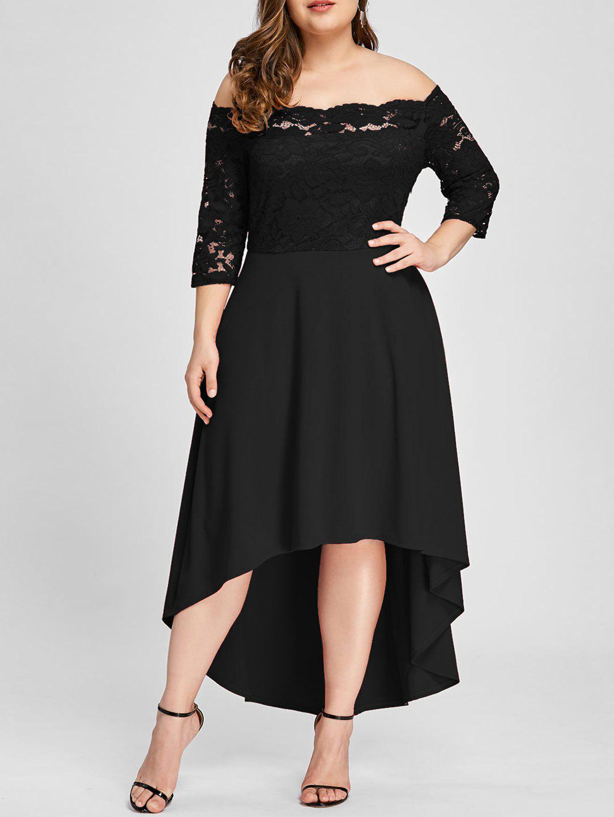 New Plus Size Off Shoulder Lace High Low Dress