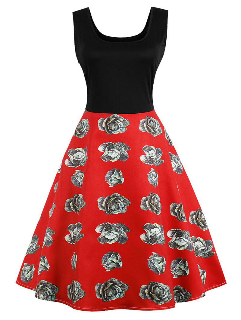 Discount Retro Printed Two Tone Skater Dress