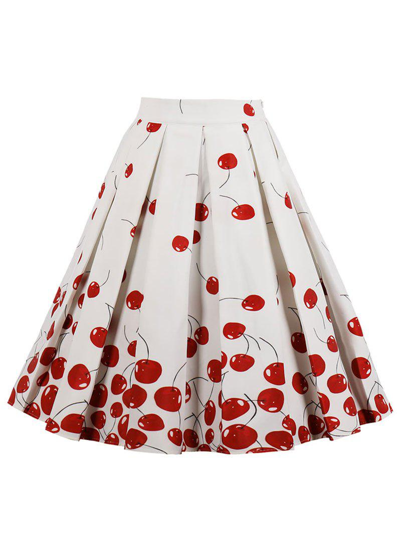 Fashion High Waisted Cherry Print Midi Skirt