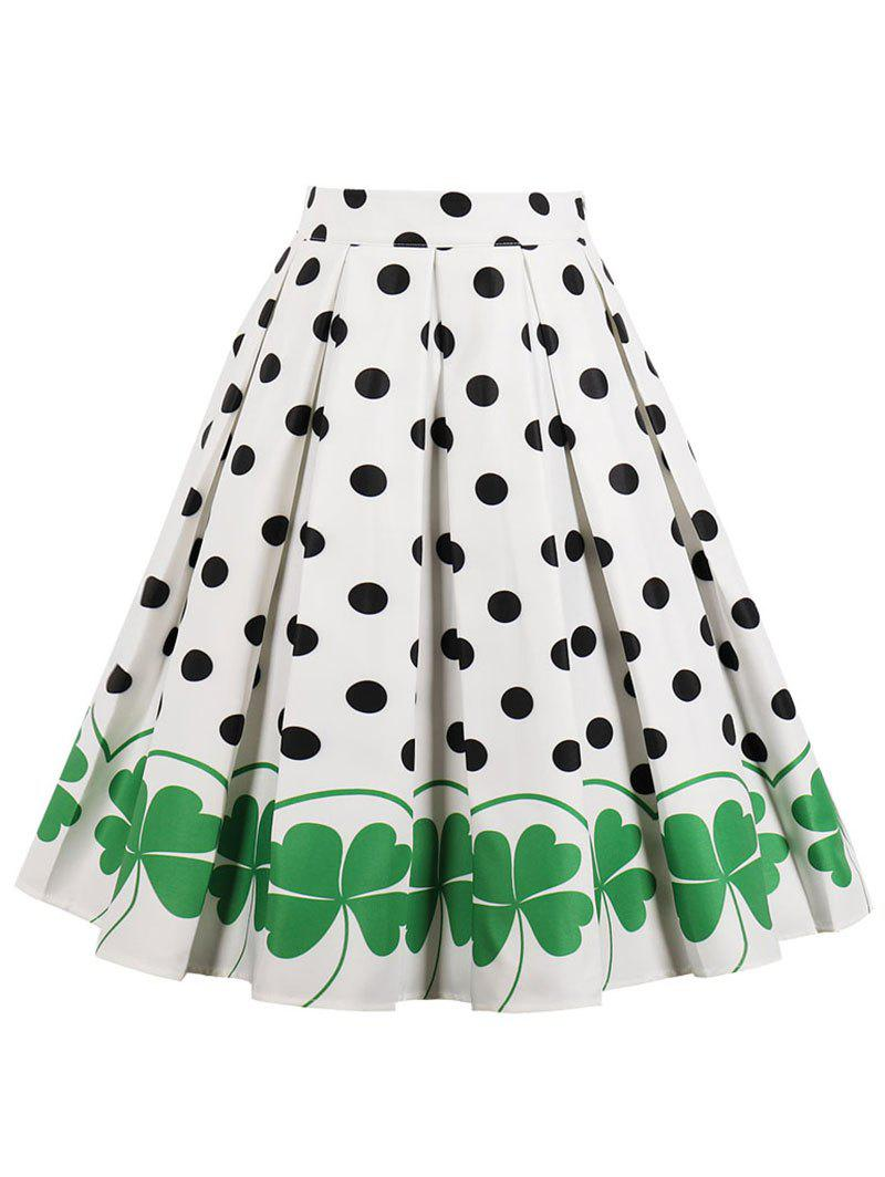 Unique High Waisted Polka Dot Midi Skirt