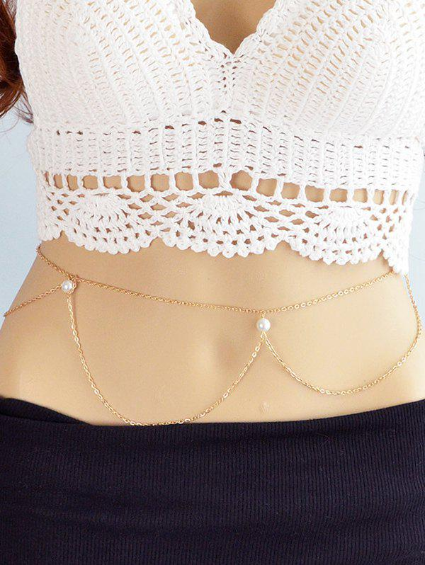 Unique Faux Pearl Alloy Belly Chain