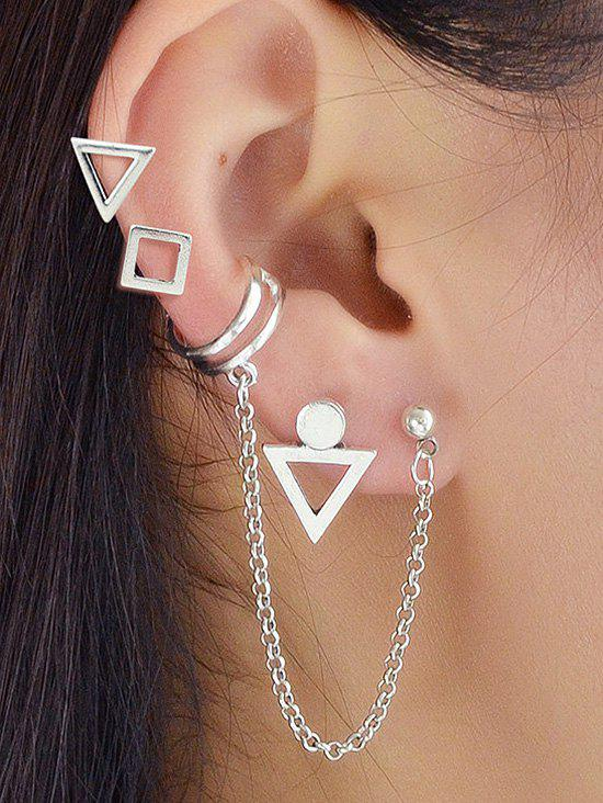 Outfits Geometric Studs Ear Cuff Chain Earrings Set