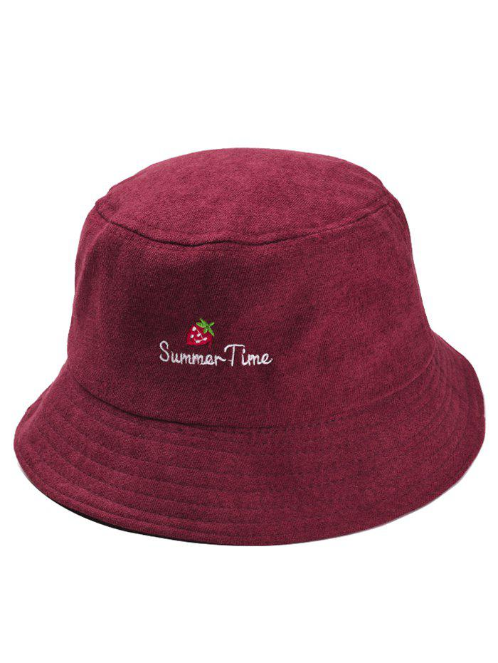 Shops Summer Time Strawberry Embroidery Fisherman Hat