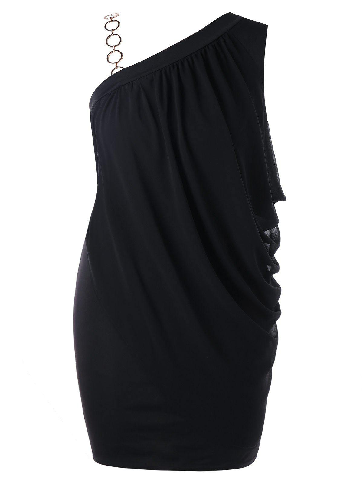 Discount Plus Size One Shoulder Draped Bodycon Dress