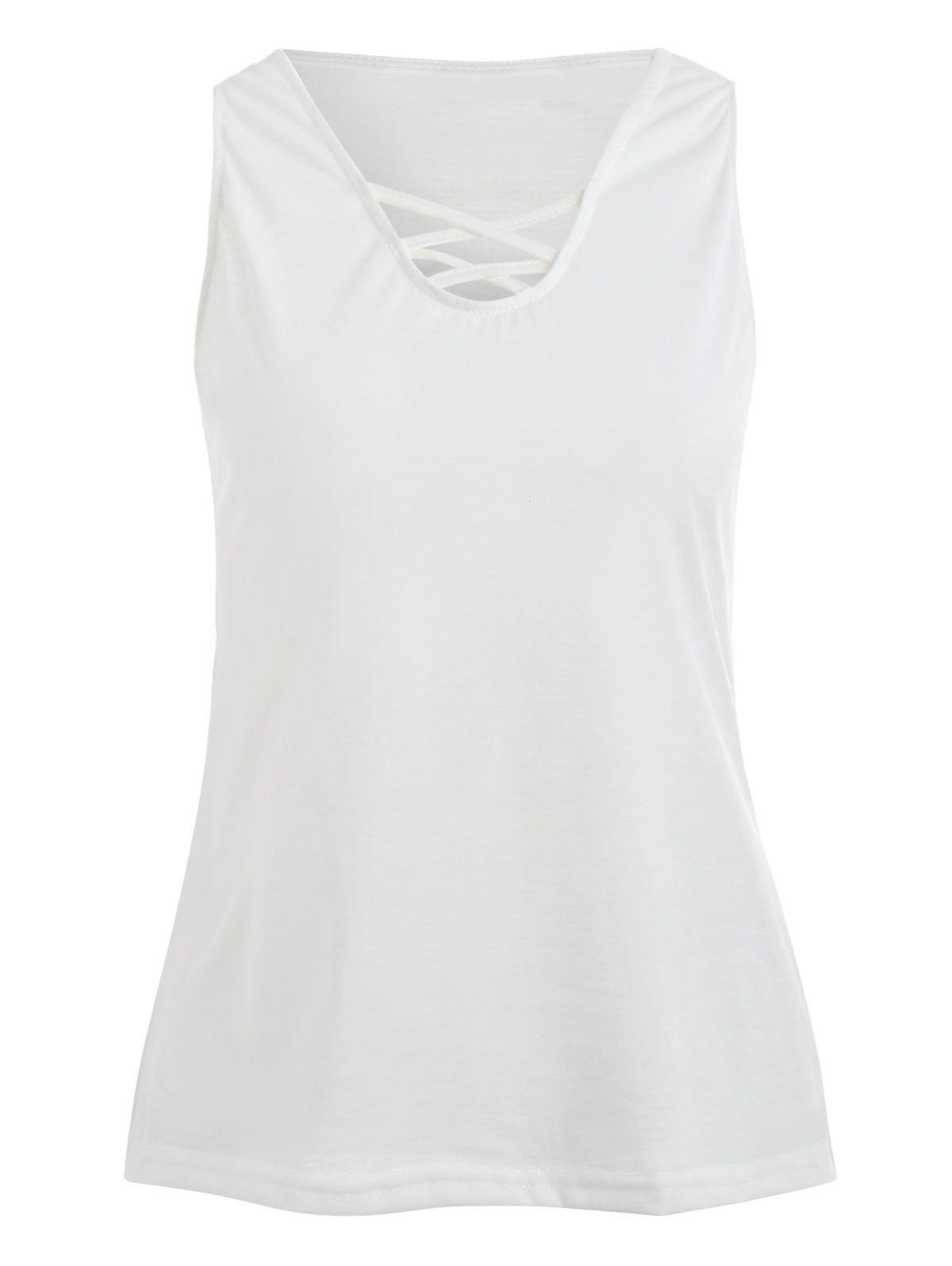 Cheap Sleeveless Criss Cross Tank Top