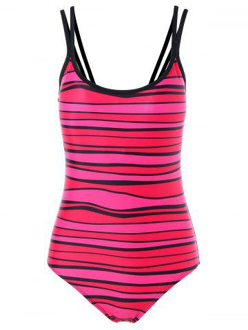 New Spaghetti Strap Stripe Padded One Piece Swimwear