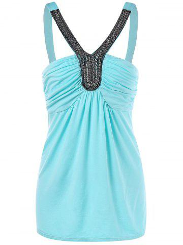 Latest Open Back Tank Top With Beads