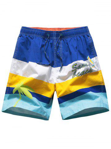 Drawstring Color Block Beach Shorts