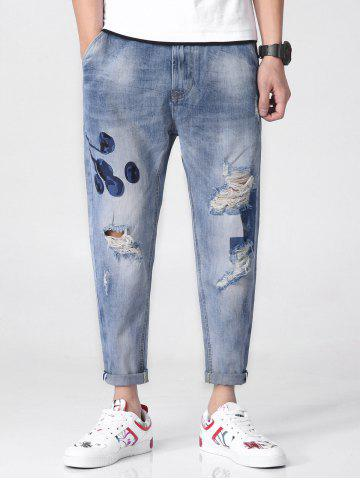 Discount Floral Ornament Narrow Feet Jeans