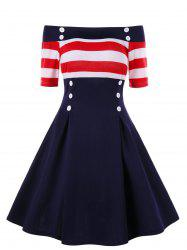 Retro Off Shoulder Stripe Party Skater Dress -