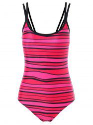 Spaghetti Strap Stripe Padded One Piece Swimwear -