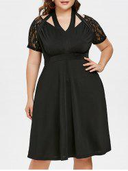 Plus Size Cutout Lace Trim Halter Dress -
