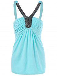 Open Back Tank Top With Beads -