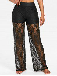 High Rise Lace Wide Leg Pants -