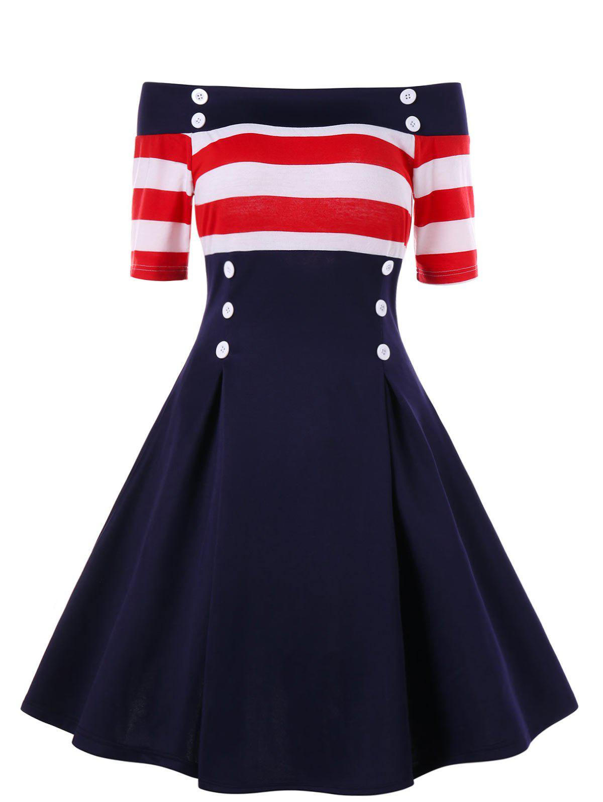 Shops Retro Off Shoulder Stripe Party Skater Dress