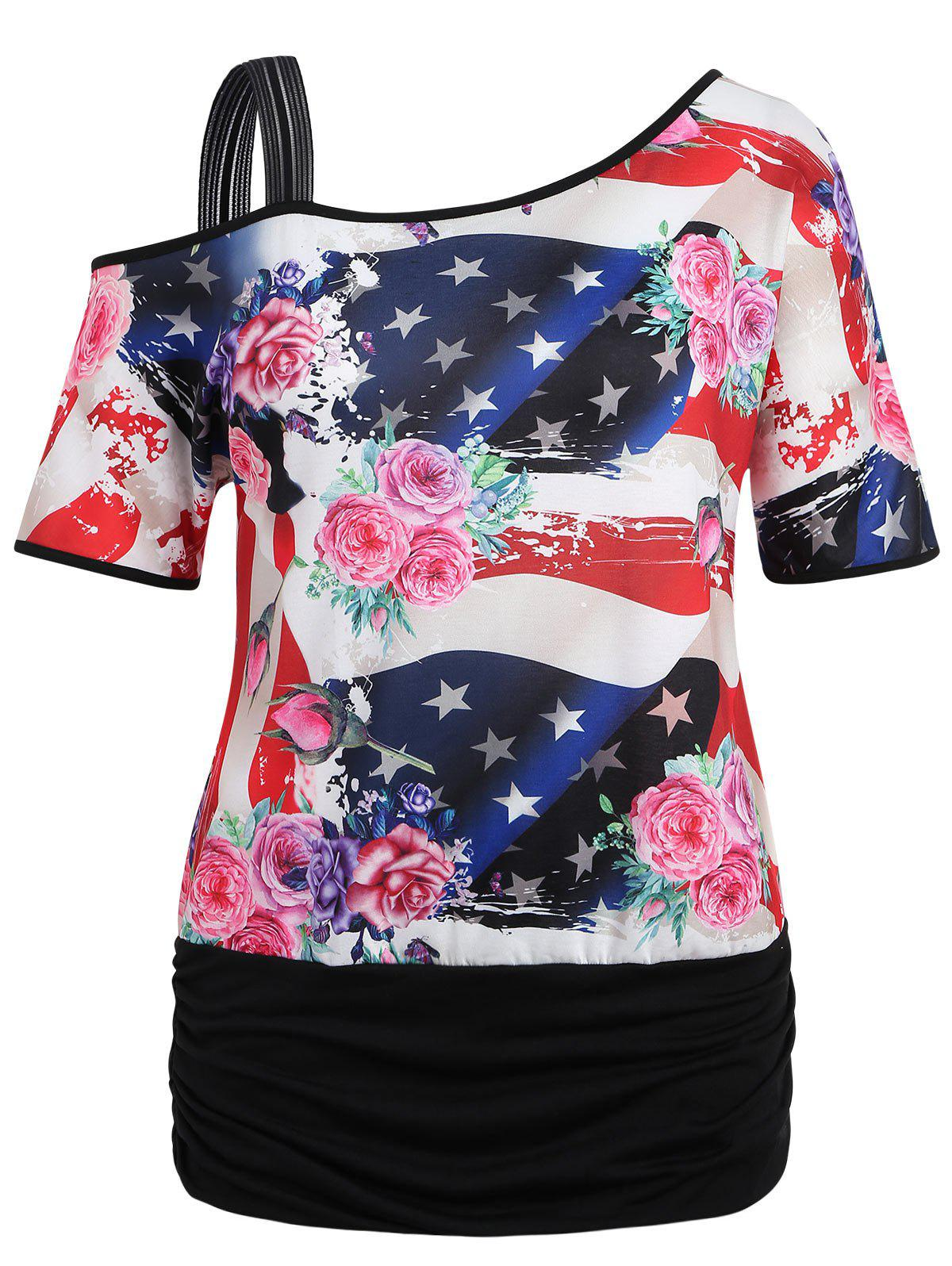 429d4a061e529 56% OFF   2018 Plus Size Patriotic American Flag Blouson Tee In ...