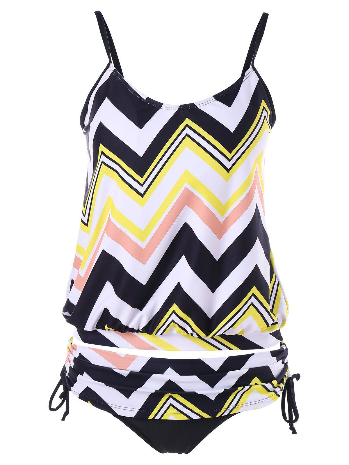 Sale Zigzag Ruched Blouson Tankini Set